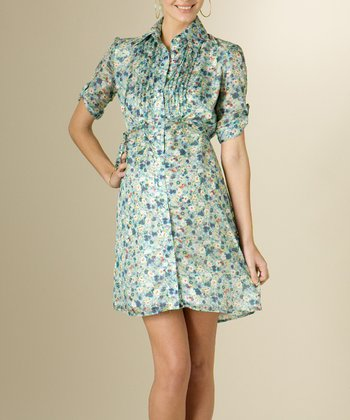 French Navy Floral Silk Maternity Shirt Dress
