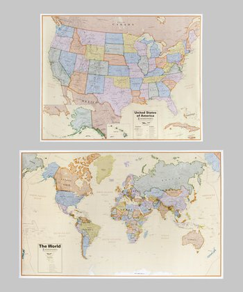 Boardroom World & USA Map Set