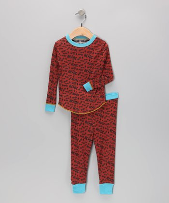 Orange & Black 'AC/DC' Pajama Set - Infant, Toddler & Kids