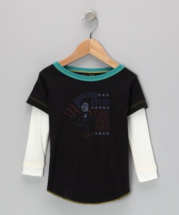 Black & Turquoise 'Bob Dylan' Tee - Infant, Toddler & Kids