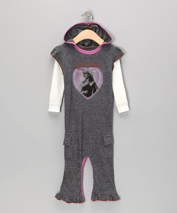 Gray & Pink 'Blondie' Playsuit - Infant