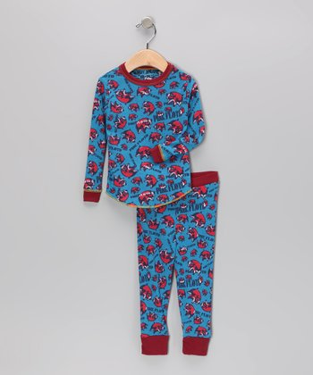 Blue & Red 'Pink Floyd' Pajama Set - Infant, Toddler & Kids
