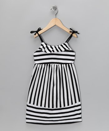 Black Stripe Just Peachy Dress - Toddler & Girls