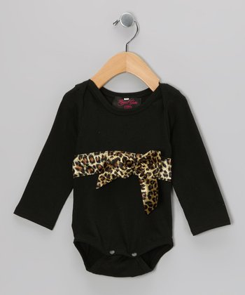 Black Cheetah Bow Bodysuit - Infant
