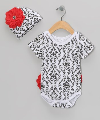 Red Damask Flower Bodysuit & Beanie