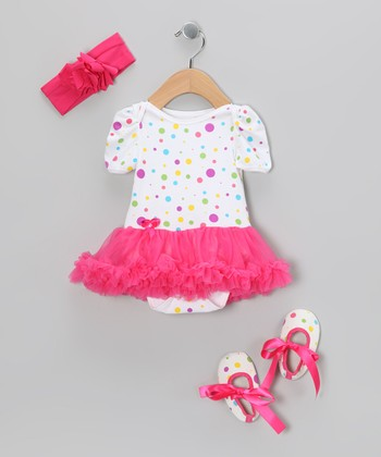 Hot Pink Polka Dot Ruffle Skirted Bodysuit Set