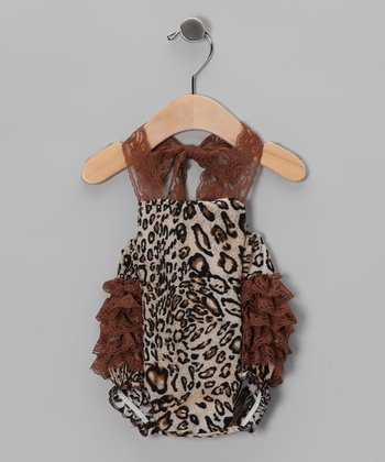 Brown Leopard Lace Bubble Bodysuit - Infant
