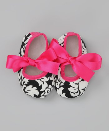 Pink Damask Bow Flat - Infant