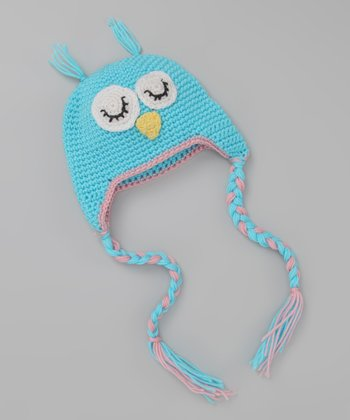 Blue Sleeping Owl Earflap Beanie