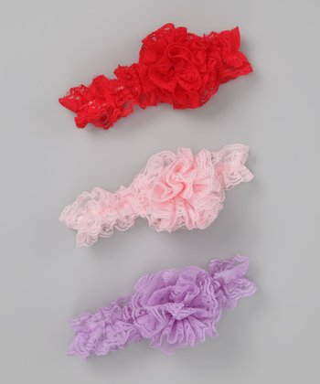 Purple, Pink & Red Lace Headband Set