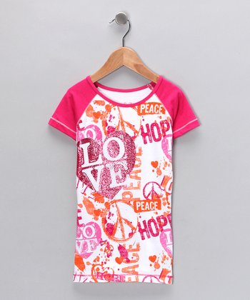 Hot Pink 'Love' Tee - Girls