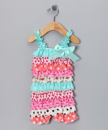 Light Blue Polka Dot Ruffle Romper