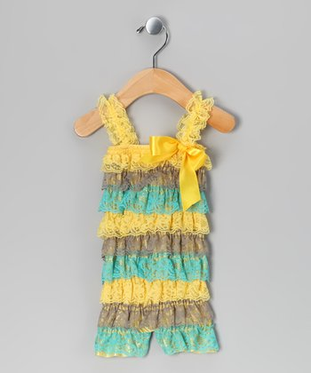 Yellow Stripe Lace Ruffle Romper - Toddler
