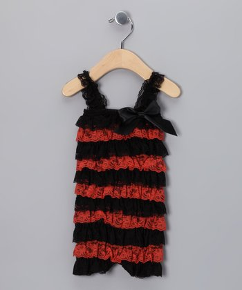 Orange & Black Lace Ruffle Romper - Infant & Toddler