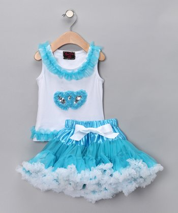 White Heart Tank & Blue Pettiskirt - Infant & Toddler