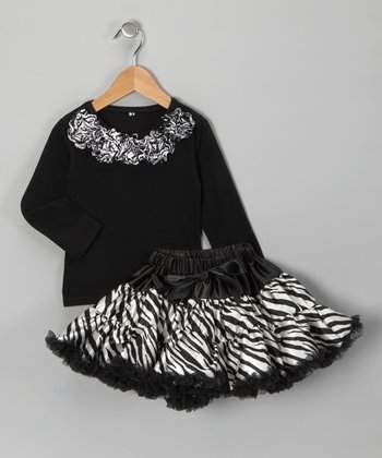 Black Rosette Top & Zebra Pettiskirt - Infant