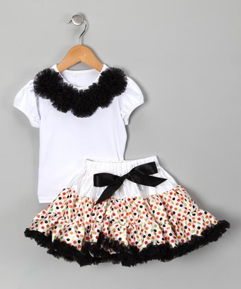 White Rosette Top & Dot Pettiskirt - Infant & Toddler