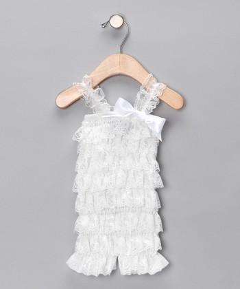White Lace Ruffle Romper - Toddler