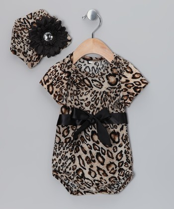 Brown Leopard Bodysuit & Beanie