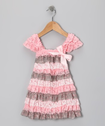 Pink & Cream Lace Ruffle Dress - Toddler & Girls