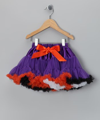 Orange & Purple Satin Pettiskirt - Infant, Toddler & Girls