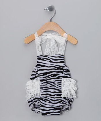 Black Zebra Lace Bubble Bodysuit - Infant