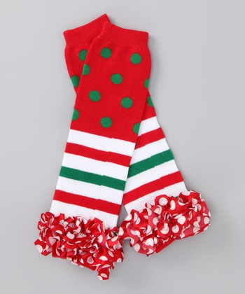 Red & Green Polka Dot Ruffle Leg Warmers