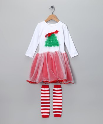 Red Christmas Tree Dress & Leg Warmers - Toddler & Girls