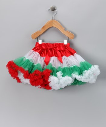 Red & Green Tiered Pettiskirt - Toddler & Girls