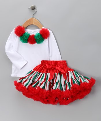 White Pom-Pom Tee & Red Pettiskirt - Infant, Toddler & Girls