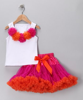 White Rosette Tank & Pink Pettiskirt - Toddler & Girls