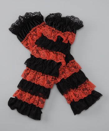 Orange & Black Lace Ruffle Leg Warmers