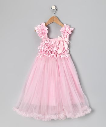 Pink Chiffon Ruffle Dress - Toddler & Girls