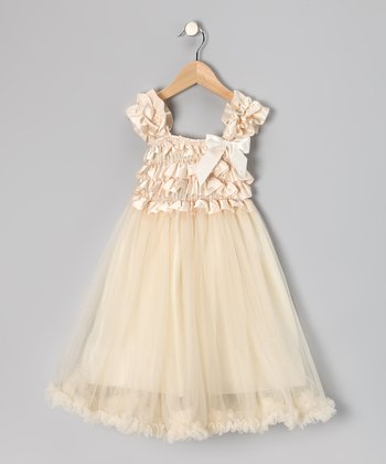 Cream Chiffon Ruffle Dress - Toddler & Girls