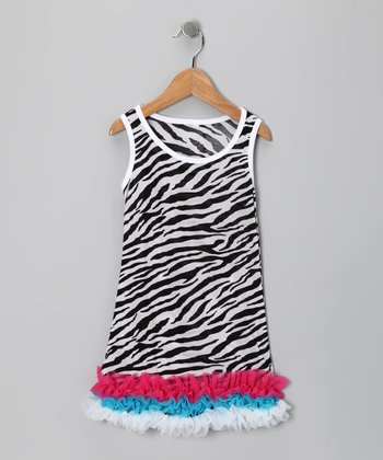 Black & Pink Zebra Drop-Waist Dress - Toddler