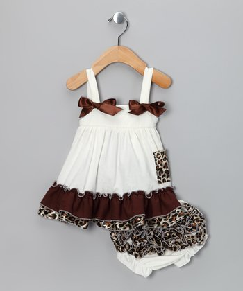 Ivory Leopard Ruffle Swing Top & Diaper Cover
