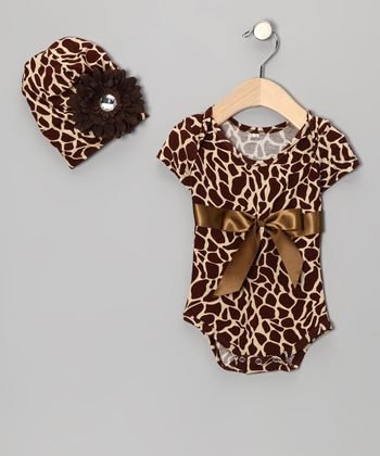 Brown Giraffe Bodysuit & Beanie