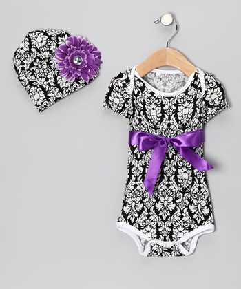 Purple Damask Bodysuit & Beanie - Infant