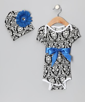 Blue Damask Bodysuit & Beanie - Infant