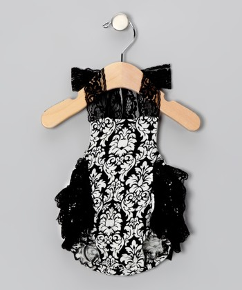 Black Damask Lace Bubble Bodysuit - Infant