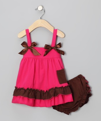 Hot Pink & Brown Ruffle Swing Top & Diaper Cover