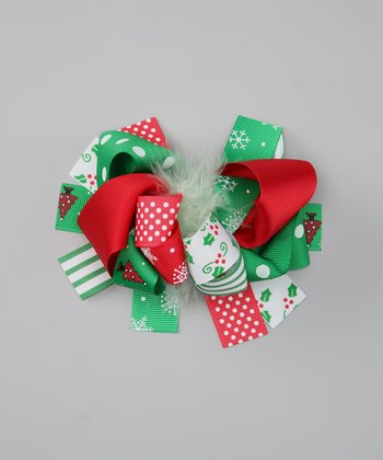 Green Christmas Bow Clip