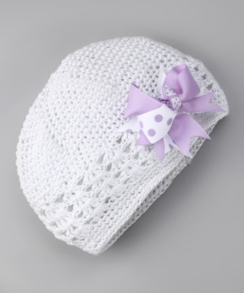 White & Lilac Bow Knit Beanie - Infant