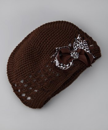 Brown Bow Knit Beanie - Infant