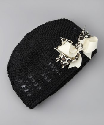 Black & Cream Bow Knit Beanie - Infant