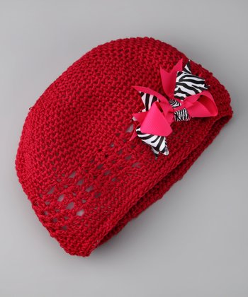Red & Pink Bow Knit Beanie - Infant