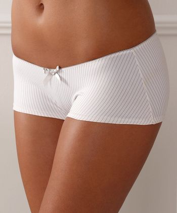 Cream & Gray Stripe Lauren Boyshorts - Women