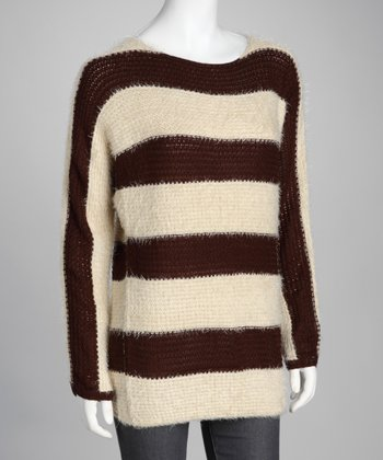 Brown & Off-White Stripe Sweater