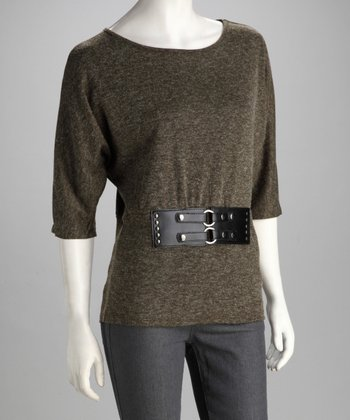 Olive Three-Quarter Sleeve Top