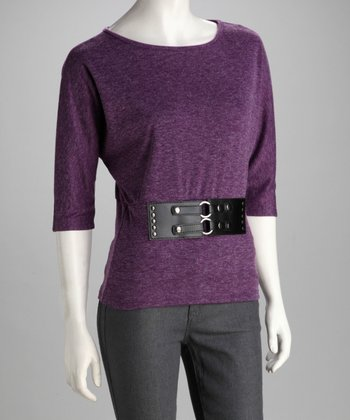 Purple Three-Quarter Sleeve Top